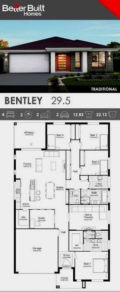 Single Storey House Design, the Bentley 29 with Traditional facade option. This generous layout includes everything a home needs. 4 bedrooms plus a study, all with wardrobes, Home Theatre, gourmet kitchen with window splashback and large Walk In Pantry. Bedroom House Plans, Dream House Plans, Small House Plans, House Floor Plans, Single Storey House Plans, Best Kitchen Layout, Kitchen Design, Pantry Design, Kitchen Decor