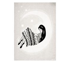 Lady Moon Whimsical Art Print / Dreamy illustration by lauraamiss