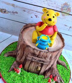 Winnie the Pooh Cake - Cake by Karen Keaney Winnie The Pooh Cake, Disney Winnie The Pooh, Tree Stump Cake, Bear Birthday, Birthday Cakes, Gravity Defying Cake, Friends Cake, Bolo Cake, Character Cakes