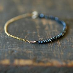 Black Magic Gold Bracelet Delicate Gemstone by ShopClementine, $85.00