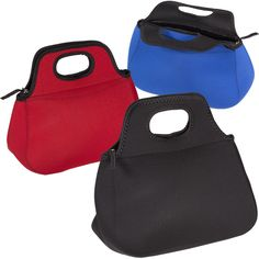 """Trying to eat healthy on the go has increased the need for a more quality lunch tote than the paper bag of yesterday. Answer the call for your clients with the Zippered Neoprene Lunch Tote. The 4 mm neoprene pouch with a Lycra trim features a padded zipper closure with wide comfort handles. The pouch measures 14 1/2"""" x 10 1/2"""" x 6"""" and can be imprinted using Image Bonding (R) four color process or transfer. Help your clients spread your name around the lu..."""