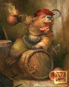 Etsy の Beer Barrel Bear print by StudioRayyan