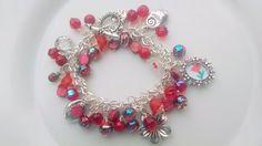 Red Charm Bracelet Red Glass Beads Red Flower by TiazasTreasures, $35.00
