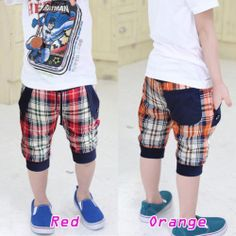 Kids Boys Summer Casual Cropped Capri Shorts Pants Colored Checked Pull on K310 | eBay