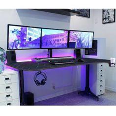 Computer Gaming Room, Gaming Room Setup, Computer Setup, Pc Setup, Best Gaming Setup, Video Gaming Rooms, Computer Room Decor, Cool Gaming Setups, Ultimate Gaming Setup