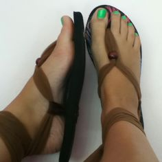 DIY flip flops into cute new sandals! Just lace fabric through the holes, add a bead for decoration, lace up and viola!