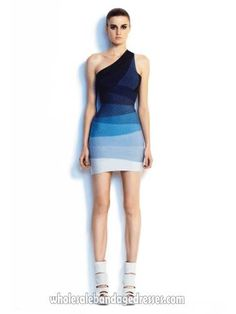 Herve leger one shoulder bandage dress ombre blue mini cocktail dresses from Herve Leger wholesale china shop