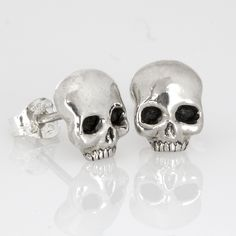 Sterling Silver Skull Studs. Hand made by Sparrow & Co Jewellery. New Zealand