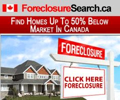 Foreclosure listings available for most Canadian cities and towns.