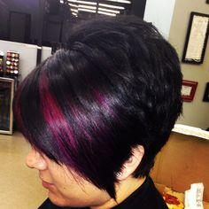 Dark short hair with purple