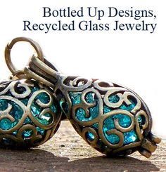"Our recycled glass jewelry is handmade in Pennsylvania from antique glass and bottles reclaimed from the natural wooded habitats and rural farmlands. To share the history of these beautiful broken treasures, each piece comes with ""The Story of the Glass"" detailing what the glass was originally and the approx. age."