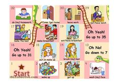 This is a typical snakes and ladders boardgame with vocabulary about daily routine, household chores and free time activities.Students have to make a sentence with the vocabulary on the square they land on. I'm uploading the board in parts because of the size of the file. If you want to make the game more challenging you will also find:- a subject pronoun dice. Students have to make a sentence not only with the vocabulary provided but also with the pronoun they get.- A dice that tells the...