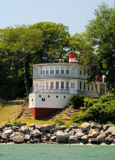 This great ship house majestically looks out over the shores of Lake Huron in Michigan. It stands near Point Lookout, north of Au Gres, and at the time the picture was taken, in the summer of 2009, the unusual house was even for sale. Not for long, we assume.