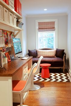 second floor landing doubles as boys' homework / study space // design by Nightingale Design
