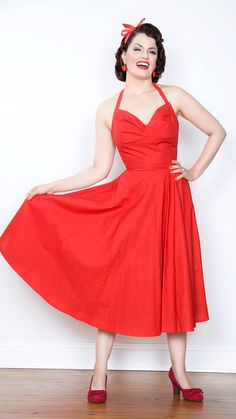 Vintage 1950s inspired red sun dress full circle by OuterLimitz