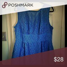Swirl Pattern Lace Dress Blue knee-length dress, worn once.   Flattering sleeveless cut, skirt hits around knee.  Pattern of lace is very pretty, like a swirly paisley. Dress Barn Dresses Midi