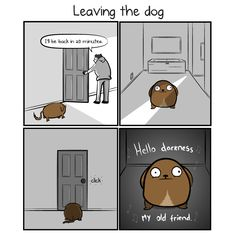 Leaving the dog VS leaving the cat - The Oatmeal Dog Hotel, Cat Comics, How To Make Comics, Dog Daycare, Dog Boarding, Hilarious, Funny, Dog Life, Comic Strips