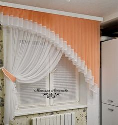 orange sheer swags with rosettes Home Curtains, Curtains With Blinds, Kitchen Curtains, Curtain Patterns, Curtain Designs, Home Room Design, House Design, Rideaux Design, Elegant Living Room