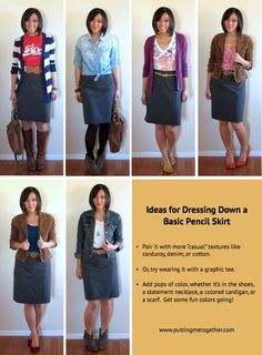 Putting Me Together: Ways to Dress Down a Pencil Skirt