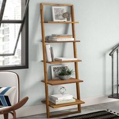 Contemporary Bookcase, Modern Bookcase, Small Bookcase, Ladder Bookcase, Leaning Bookshelf, Bookshelves For Small Spaces, Bedroom Bookcase, Bookcase Styling, Solid Wood Shelves
