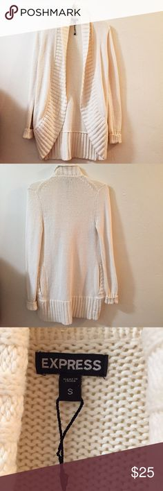 Express Sweater White knit cardigan by Express. Heavy material so very warm. The sleeves are folded and there are pockets. Excellent condition Express Sweaters Cardigans