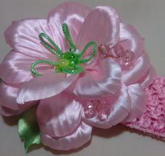 Цветок канзаши flower kanzashi - яркая летняя повязка с весёлым лягушонком