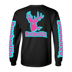 Long Sleeve Black with Aqua Blue Pink Logo, small logo on front and large logo on back. BuckedUp® down each sleeve. Gildan 100% Cotton men's styled shirt. Please choose size accordingly.