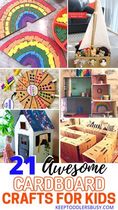 21 Awesome Cardboard Arts and Crafts Ideas for Kids Recycled Crafts Kids, Fun Crafts For Kids, Easy Diy Crafts, Crafts To Do, Diy Craft Projects, Arts And Crafts, Fun Activities For Toddlers, Color Crafts, Crafty Kids