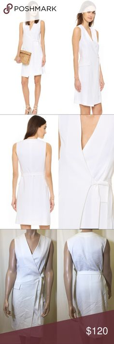 Theory-White Livwilth Soft Crepe Wrap Dress SZ-10 A modern take on the classic wrap dress. Made in signature tailored crepe for a feminine, elegant touch. Dress yours over cropped or full-length pants for a longer, leaner look. True to size. Material: 70% triacetate, 30% polyester. Dry clean. Italy. Fabric: ADMIRAL CREPE. Color: white Theory Dresses Mini