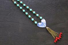 Long Bohemian Blue Heart Chain Tassel by MusingTreeStudios on Etsy