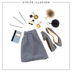 Hypnotise whoever sees you in a cute striped skirt with matching adorable pompom key rings!