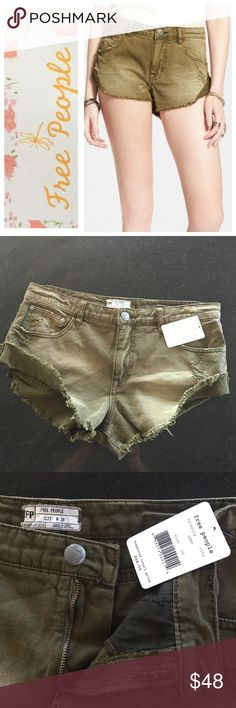 Free People shorts Free People Irreplaceable denim cutoff shorts, army color, size 28.  Destroyed look with frays and tears.  NWT Free People Shorts Jean Shorts