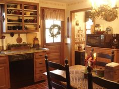 Colonial Primitive Christmas Kitchen coloni primit, christmas kitchen, primitive christmas, christma kitchen, cabinet, country kitchens, primit christma, primit kitchen, primitive kitchen