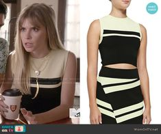 Brooke's black and yellow striped crop top on Scream.  Outfit Details: http://wornontv.net/50777/ #Scream