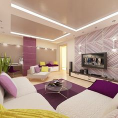 Modern Apartment with Large Bedroom for Young Couples with Colorful Sytle