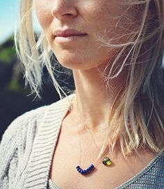 Understated, minimal jewellery from Wanderlust life. Green Quartz and Lapis Lazuli beaded necklace - layer up the look. www.wanderlustlife.co.uk