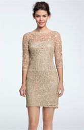 #KUbrides Kay Unger Sequin & Lace Sheath Dress
