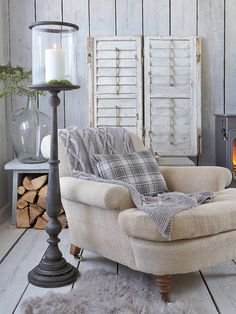Nordic House, Danish Wooden Hurricane Lamp Cozy sweater throw--I really like that tall hurricane lamp Muebles Home, Cottage Shabby Chic, Winter Living Room, Cozy Living, Hurricane Lamps, Diy Home Decor, Family Room, Living Spaces, Bedroom Decor