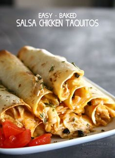 Baked Salsa Chicken Taquitos, quick and easy to throw together & a perfect use for leftovers. What a delicious appetizer or snack & great for game day!