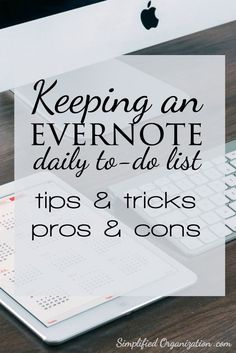 If you want to go paperless, try keeping your daily to-do list in Evernote! An Evernote daily to-do list functions as an planning tool & a journal in one that will help you organize your life. Time Management Tips, Business Management, Project Management, Evernote Template, Planners, Computer Programming, Computer Tips, Computer Help, Bullet Journal