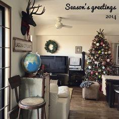 laguna917さんの、シーリングファン,テレビ,ビンテージ,暖炉型ファンヒーター,クリスマスツリー,クリスマス,部屋全体,のお部屋写真