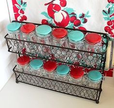 Red Kitchen Inspiration : Rustic French Chic Wall or Counter Kitchen Spice Rack w 12 Aqua and Red Jars Aqua Kitchen, Turquoise Kitchen, Kitchen Jars, Rustic Kitchen, Kitchen Decor, Kitchen Design, Kitchen Ideas, Decorating Kitchen, Vintage Kitchen