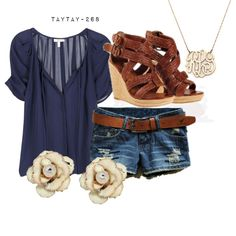 navy by taytay-268 on Polyvore . .. I'd be wearing longer shorts or capris, but really cute top and shoes!