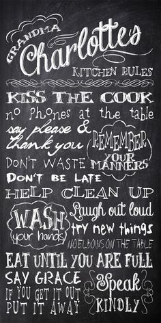 Personalized Chalkboard Kitchen Rules Subway by InvitingMoments, $35.00