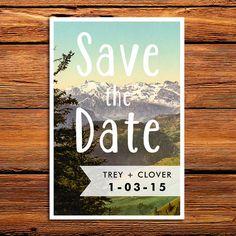Rustic Pine Trees Save the Date - Woodland Forest Wedding Invitation - Mountain Invitation - Colorado Wedding