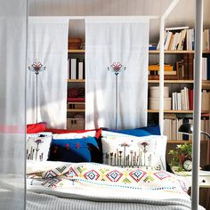 """IKEA Birgit Pair of Curtains 2 Window Panels Embroidered 24x98"""" Room Divider New   eBay"""