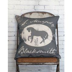 Pillow Cover Equestrian Horse Decor Blacksmith