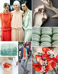 Peachy, mint, golds and lots of fun!!! :  wedding colors peach mint inspiration teal gold orange pink ivory Mint Orange Blush Board