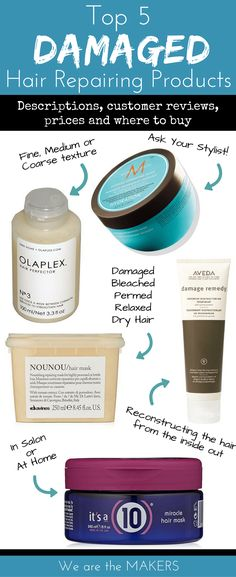 The best hair products for damaged hair repair. Deep conditioning treatments for dry hair, damaged hair or bleached hair to make it healthy again! Products For Damaged Hair, Hair Mask For Damaged Hair, Damaged Hair Repair, Salon Hair Products, Bleach Damaged Hair, Bleaching Hair Products, Beauty Products, Blonde Hair Products, Best Hair Styling Products