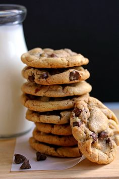 Perfect Chewy Chocolate Chip Cookies 2½ cups all-purpose flour ¾ teaspoon salt 1 teaspoon baking powder 1 teaspoon baking soda 1 cup unsalted butter, softened to room temperature 1 cup granulated sugar 1 cup packed light brown sugar 2 large eggs at room temperature 3 tablespoons milk 1 tablespoon pure vanilla extract 2 cups chocolate chip